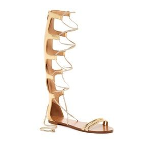 Aldo Gold Lace Up Knee High Gladiator Sandal